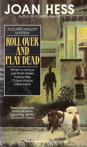 Cover of 1991 paperback showing a shadowed man in front of a Georgian home looking at a basset hound