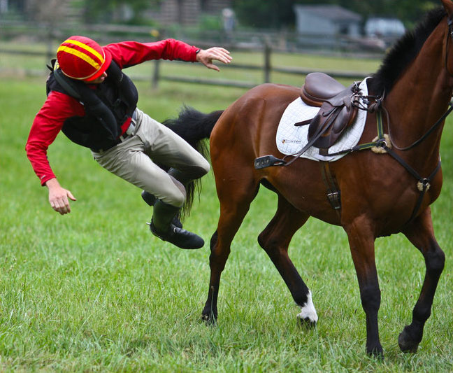 adult falling to the side of a bay horse